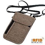 xhorizon SR Passport Holder Neck Pouch Travel Wallet, RFID Blocking Concealed Travel Organizer