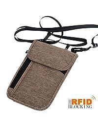 xhorizon SR Passport Holder Neck Pouch Travel Wallet, RFID Blocking Concealed Travel Organizer, Concealed Travel Organizer