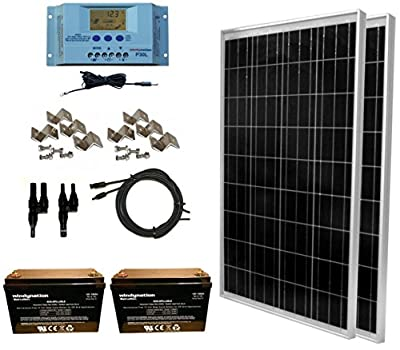 WindyNation 200 Watt Solar Panel Complete Off-Grid RV Boat Kit with LCD PWM Charge Controller + Solar Cable + MC4 Connectors + Mounting Brackets