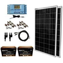 WindyNation 200 Watt Solar Panel Kit: 2pcs 100W Solar Panels + P30L LCD PWM Charge Controller + Solar Cable + MC4 Connectors + Mounting Brackets + 12 Volt AGM Deep Cycle Battery for Off-Grid RV Boat