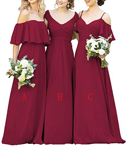 Yilisclothing Women's A Line Chiffon Long Prom Bridesmaid Dresses Off Shoulder Wedding Party Dress With Sleeves Light Burgundy-B US8