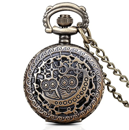 Infinite U Vintage Two Hollow Cute Owls Small Quatz Pocket Watch Arabic Numerals Bronze