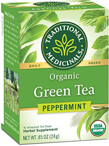 Traditional Medicinals Organic Green Tea Peppermint, 16 Tea Bags (Pack of 6)