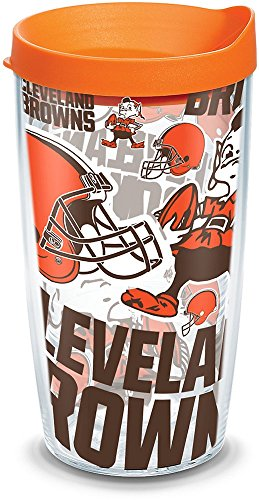 (Tervis 1302762 NFL Cleveland Browns All Over Insulated Tumbler with Wrap and Orange Lid, 16oz, Clear)