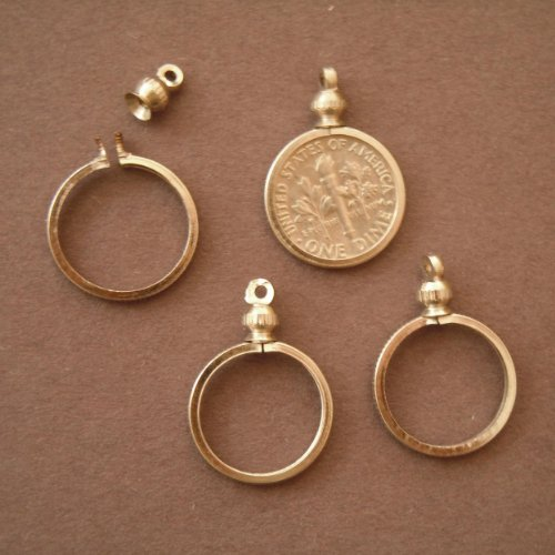 Coin Holder Bezel for 10 cent / USA Dime ~ for charm, necklace, pendant, display (Pack of 4)