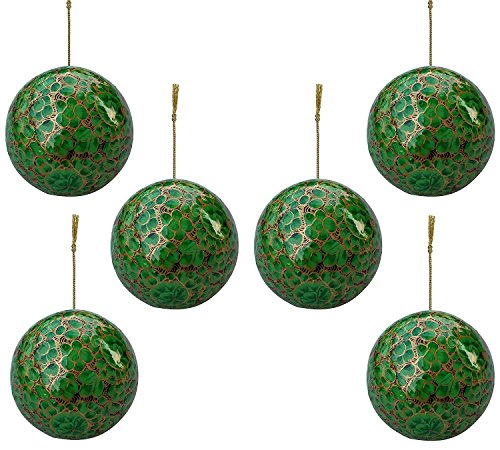 Set of 6 Paper Mache Indian Wooden Christmas Decorations Baubles Christmas Balls Tree Ornaments Decorations - Xmas Gifts Decorations ()