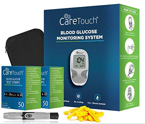 Care Touch Diabetes Testing Kit – Care Touch Blood Glucose Meter, 100 Blood Test Strips, 1 Lancing Device, 100 Lancets and Carrying - Blood Sugar Diabetics