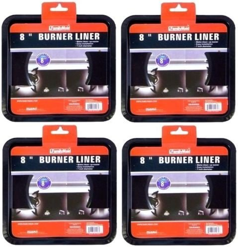 4 PCS HEAVY DUTY BLACK STEEL SQUARE REUSABLE GAS BURNER BIB LINER COVERS 8