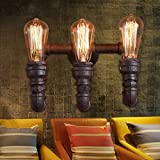 MATCHANT Industrial 3 Head Rustic Water Pipe Wall Light Fixture for loft Apartment Bar