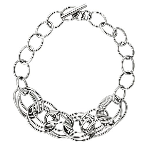 Triple Circle Link Chain - Sterling Silver Triple Circle Links Hollow Toggle Necklace, 20 inches long