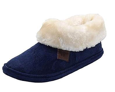 93420ad921af Ladies Chiltern Jo   Joe Faux Suede Sheepskin Fur Collar Fleece Lined  Bootee Slippers Size 3-8 (3 UK