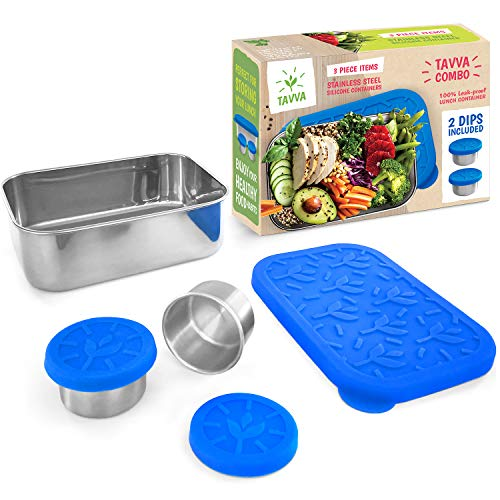 Tavva Combo Stainless Steel Food Container - 27oz Lunch Container with Food-grade Silicone Lid w/ 2x1.5oz Tavva Dips