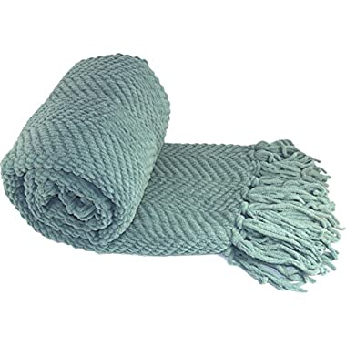 BOON Knitted Tweed Throw Couch Cover Blanket, 50  x 60 , Silver Blue