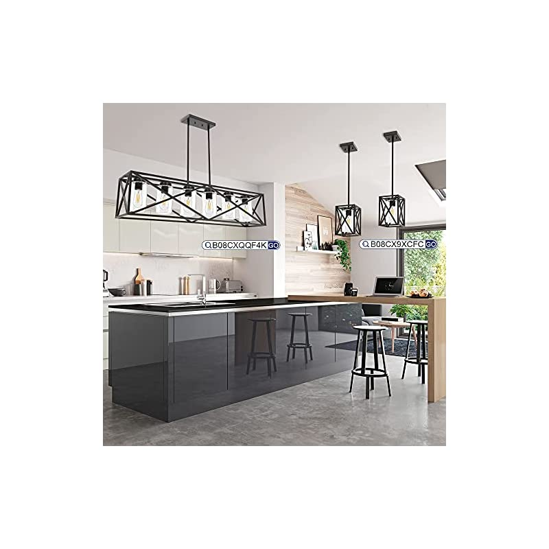 """TODOLUZ 6-Lights Farmhouse Chandelier Black Dining Room Light Fixtures, 45.28"""" Contemporary Rectangle Kitchen Island Lighting with Clear Glass Shade"""