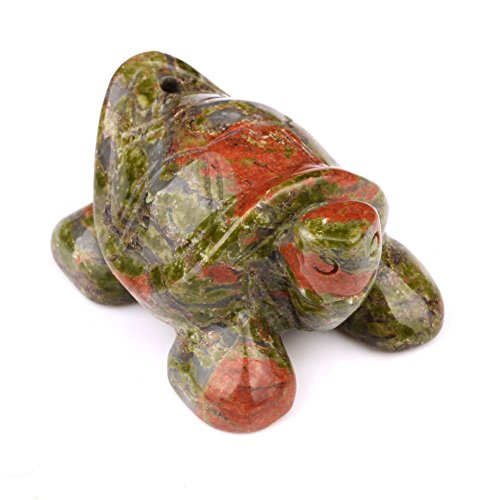 Amulet Unakite Turtle Gemstone Carving Pocket or Desk Totem Good Luck Charm with Pouch