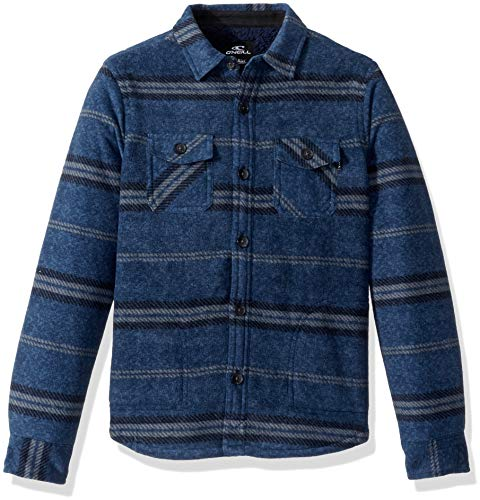 O'Neill Boys' Big Glacier Stretch Button Up Superfleece Sherpa Lined Jacket, Navy Heather, XL ()