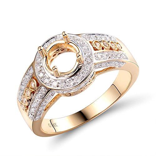 (Lanmi Fashion Jewelry Women's 6.5mm Round 14K Yellow Gold Diamond Semi Mount Ring Set)