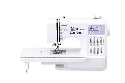 Brother máquina de Coser electrónica, Acero Inoxidable, Blanco y Morado, 44 x 28