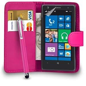 123 Online Nokia Lumia 1020 Cartera de cuero del caso del tirón de la cubierta Pouch + Grandes Touch Pen Stylus + Protector de pantalla y paño de pulido (Hot Pink)