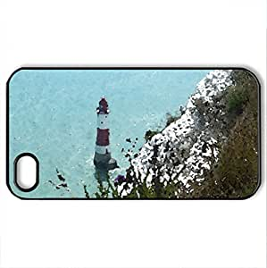 Beachy Head 2 - Case Cover for iPhone 4 and 4s (Lighthouses Series, Watercolor style, Black)