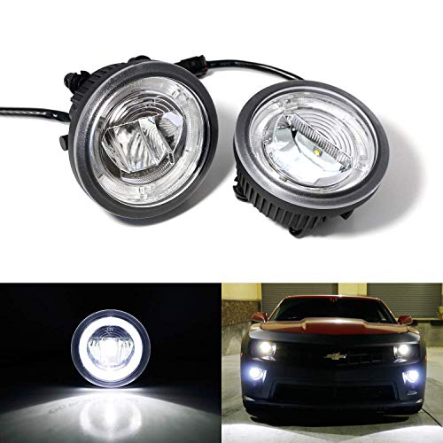 iJDMTOY Xenon White LED Daytime Running Light Fog Lamps For 10-13 Chevy Camaro Pre-LCI, (6) CREE XP-G LED Lights as Halo Ring DRL & (1) 10W CREE XB-D LED Light as Fog Light