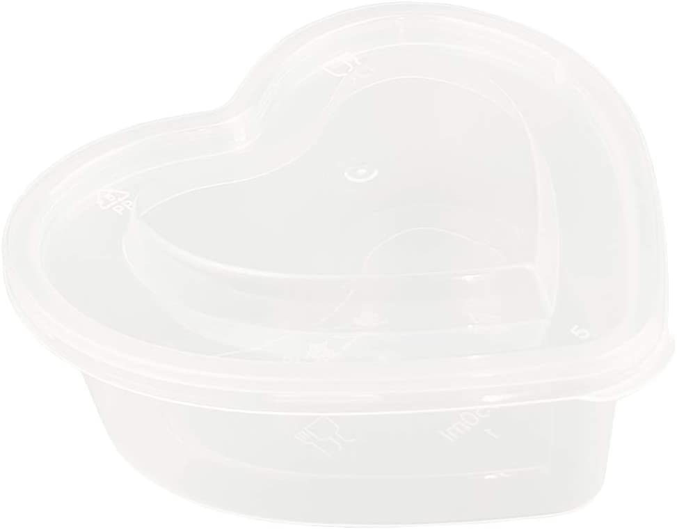 36 Pieces 5 oz Heart Shaped Slime Storage Containers Transparent Plastic Box with Lids