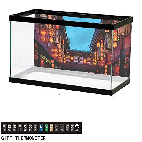 bybyhome Fish Tank Backdrop Ancient China,Pedestrian Street,Aquarium Background,48