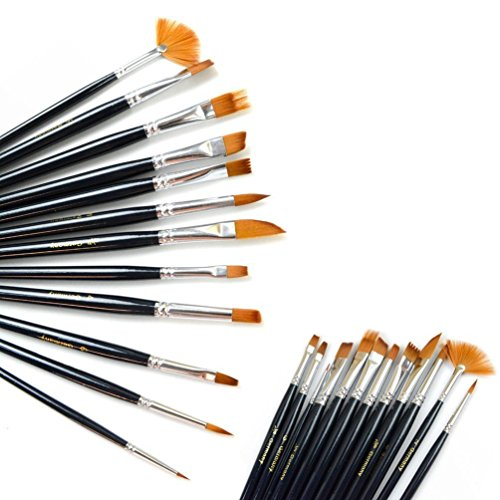 Dxhycc 12pcs nylon hair paint brush set artist watercolor for Acrylic mural paint supplies