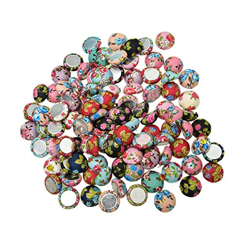 Monrocco 100Pcs Flower Fabric Covered Buttons Floral Flat Back Buttons Cloth Flatback Embellishments for Scrapbooking DIY Crafts (Button Floral Fabric)