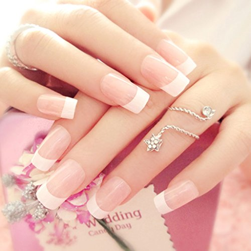 EA-STONE 24pcs French Nail Tips False Nails Art Finger Manicure Decoration With (French Manicure Halloween Nails)