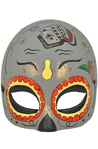 Pure Seasons Dia de Los Muertos Masquerade Mask (Grey)-Standard (Dia Del Los Muertos Costume)