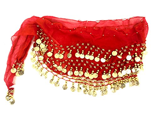 Costume Arabic Belly Dancers (Belly Dance Belt Red Gold Coin Sash Skirt)
