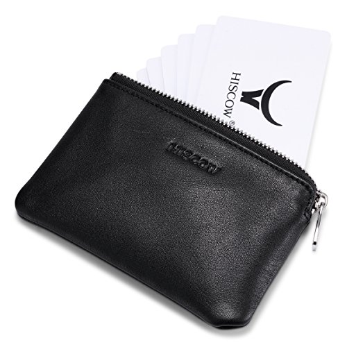 Lambskin Pouch Black (HISCOW Zipper Soft Card Pouch Black with Single Compartment - Italian Calfskin)