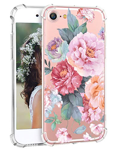 Hepix iPhone 8 Case Floral Glitter iPhone 7 Case Flowers Floral Design Smart Phone Case Slim Flexible Soft Transparent TPU Back Case with Bumper for iPhone 7 iPhone 8 [4.7 inch]