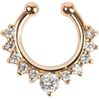 Luxury Alloy Rhinestone Fake Nose Ring Piercing Jewelry Zircon Clear Crystal Decorative Nose Stud