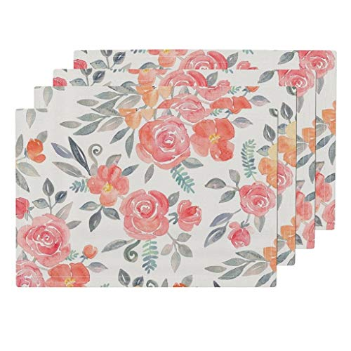 Promini Heat-Resistant Placemats, Bouquet Amelia Floral in Pink and Peach Washable Polyester Table Mats Non Slip Washable Placemats for Kitchen Dining Room Set of 4