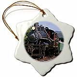 3dRose Tourists, 1910 Heisler Steam Train, Oregon - US38 DFR0165 - David R. Frazier - Snowflake Ornament, Porcelain, 3-inch (orn_93756_1)