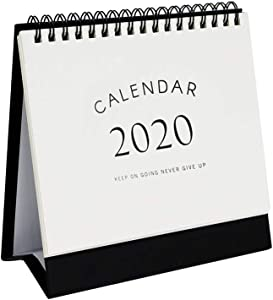 Multibey 2019-2020 Year Steel Coil Spiral Desktop Calendar Business Gift Table Self-Standing Easel Planner Agenda for Office Classroom N Home Double-Sided (Medium)