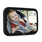 VETOMILE Baby Car Mirror for Backseat Car Rear Facing View Newborn Safety Double Straps with Free Cleaning Cloth