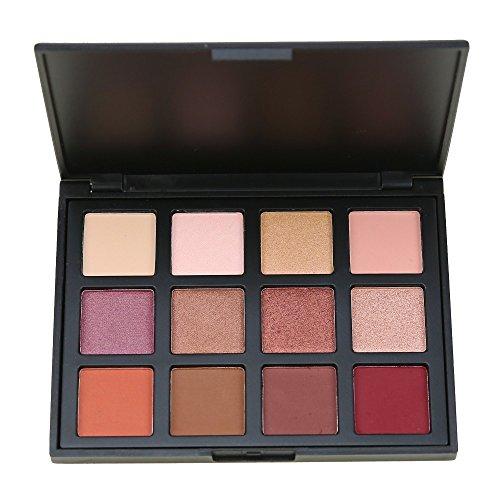 MISKOS 12 Color Nature Eyeshadow Palette Red Pigmented Shimmer Glow Eye Shadow Waterproof Makeup Pallet Naked Cosmetic Set
