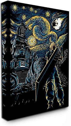 The Starry Night Canvas Wall Art 24″ x 36″ Print Framed Final Fantasy Cloud Strife Dorm Wall Decor Office Home Decor Artwork