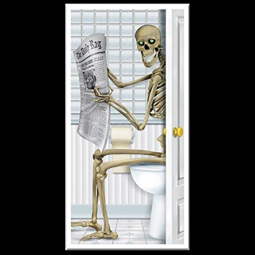 Fun Gothic SKELETON TOILET BATHROOM SHOWER DOOR COVER Halloween Party Decoration