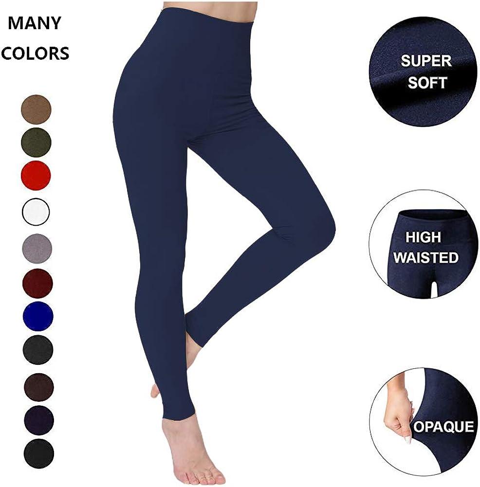 ZOOSIXX High Waisted Leggings for Women Tummy Control Soft Opaque Slim Pants