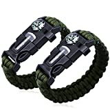 2PCS PACK Multifunctional Paracord Bracelet, Sahara Sailor Outdoor Survival Kit Parachute Cord Buckle W Compass Flint Fire Starter Scraper Whistle for Hiking Camping for Kids and Womens