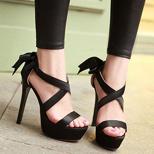 Sandals Black Heel Women's summer Bowknot Stiletto Sandals for Dress Dress Platform SaraIris 8gaqfxw