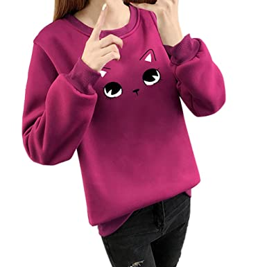 6f46edbd Amazon.com: Cat Sweatshirt Women Fashion Long Sleeve O-Neck Cat Face Cartoon  Print Loose Blouse Pullover Tops: Clothing