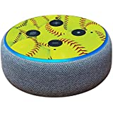 MightySkins Skin for Amazon Echo Dot (3rd Gen) - Softball Collection   Protective, Durable, and Unique Vinyl Decal wrap Cover   Easy to Apply, Remove, and Change Styles   Made in The USA