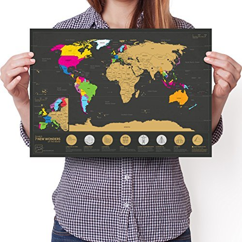 Travel Size Scratchable World Map - 7 Wonders Edition - Personalised Travel Tracker Poster - Remember and Share Your Adventures (Black | 11.7