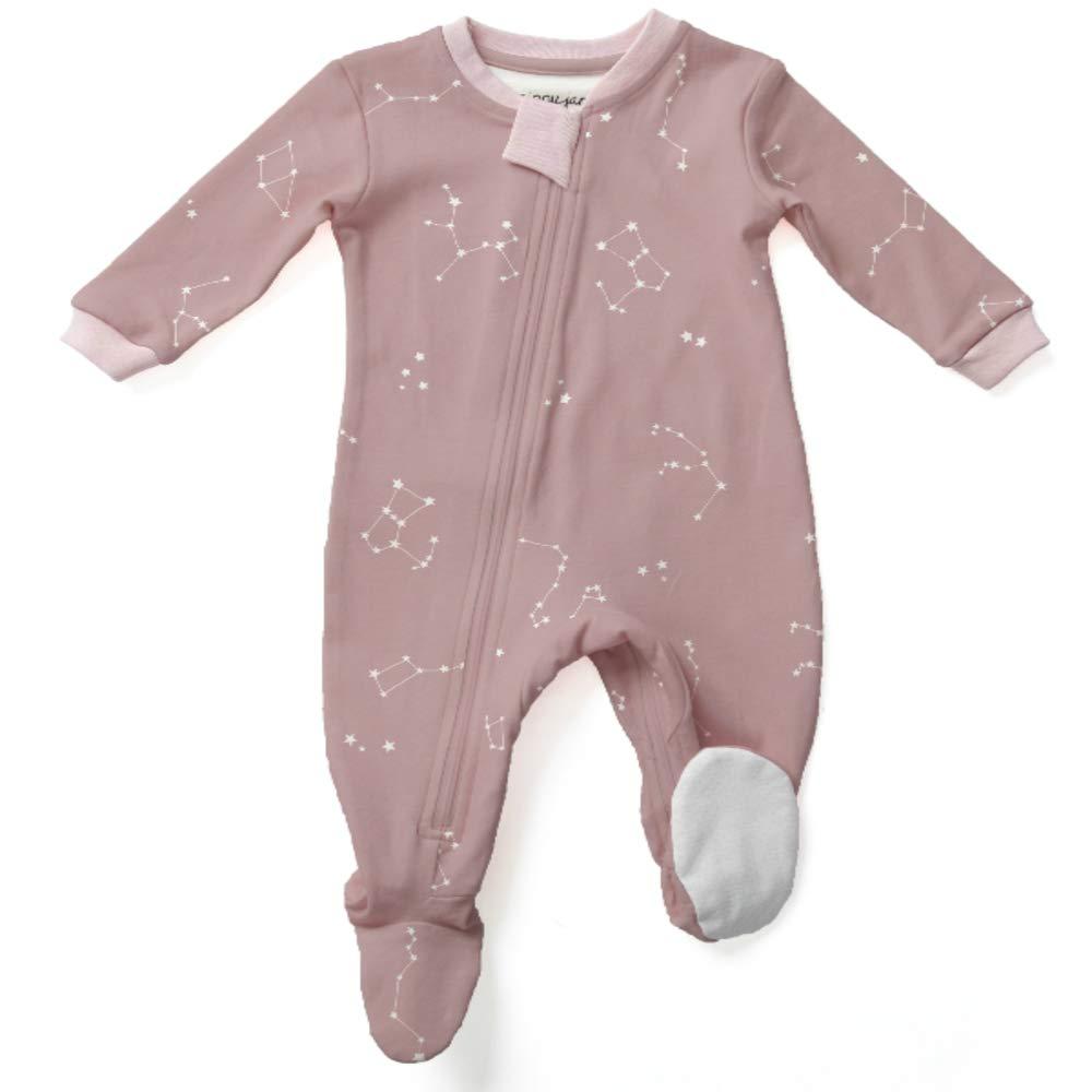 ZippyJamz Organic Baby Footed PJs w/Inseam Zipper - Galaxy Love - Pink (12-18 Mos)