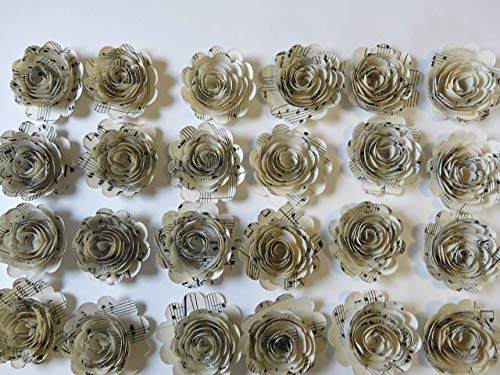 Scalloped-Sheet-Music-Roses-Set-of-24-Musical-Party-Theme-Decorations-15-Paper-Flowers-Popular-Baby-Shower-Decor-Wedding-Centerpiece-Teacher-Gift-Idea